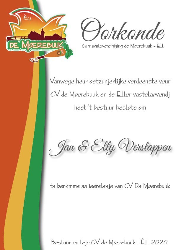 Oorkonde erelid Jan en Elly Verstappen